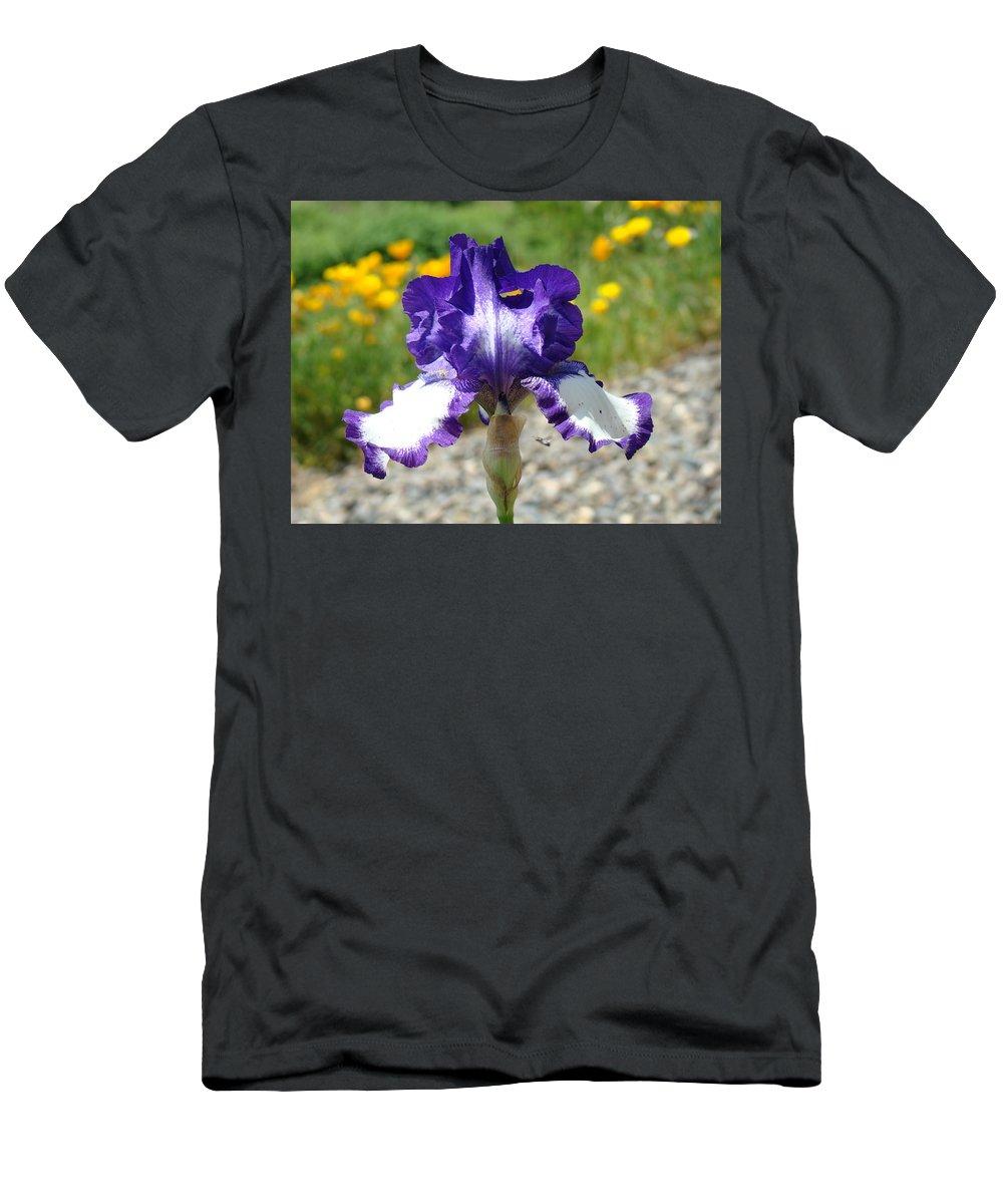 �irises Artwork� Men's T-Shirt (Athletic Fit) featuring the photograph Iris Flower Purple White Irises Nature Landscape Giclee Art Prints Baslee Troutman by Baslee Troutman