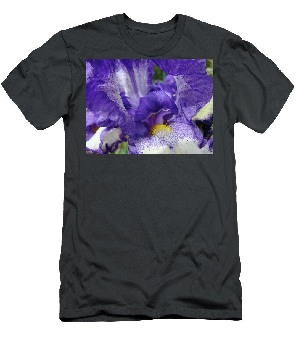 Iris Men's T-Shirt (Athletic Fit) featuring the photograph Irises Artwork Purple Iris Flowers Art Prints Canvas Baslee Troutman by Baslee Troutman