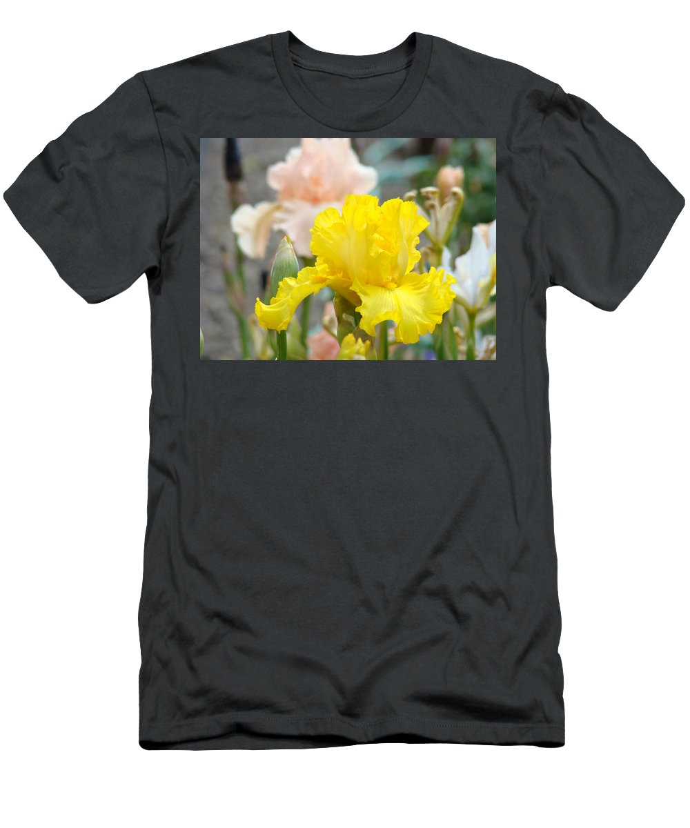 �irises Artwork� Men's T-Shirt (Athletic Fit) featuring the photograph Irises Botanical Garden Yellow Iris Flowers Giclee Art Prints Baslee Troutman by Baslee Troutman