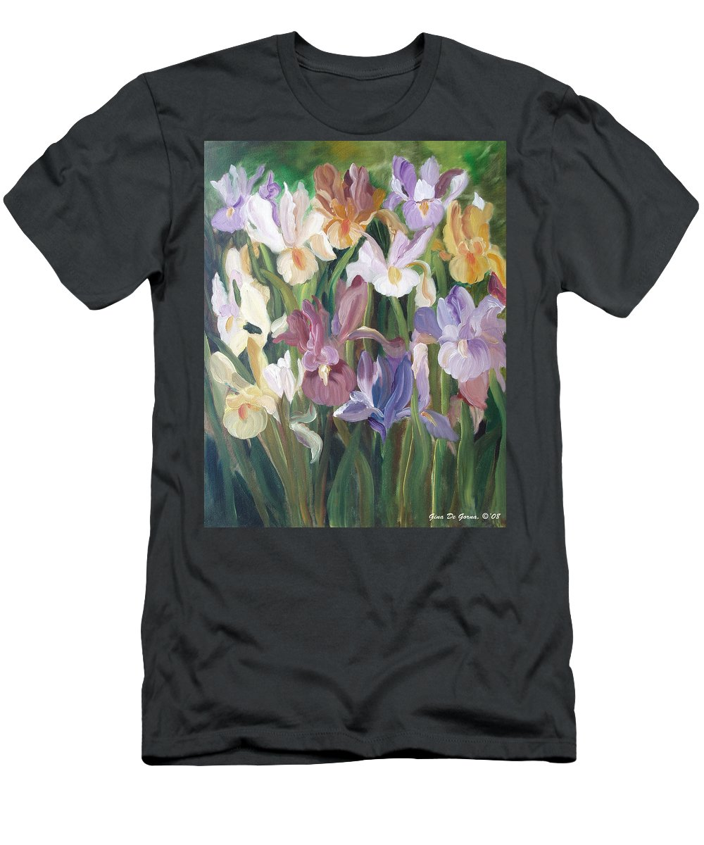 Irises Men's T-Shirt (Athletic Fit) featuring the painting Irises by Gina De Gorna