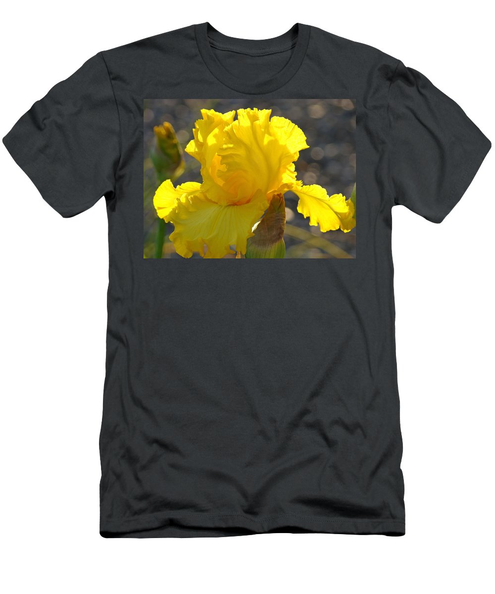 Iris Men's T-Shirt (Athletic Fit) featuring the photograph Irises Yellow Iris Flowers Art Prints Floral Canvas Baslee Troutman by Baslee Troutman