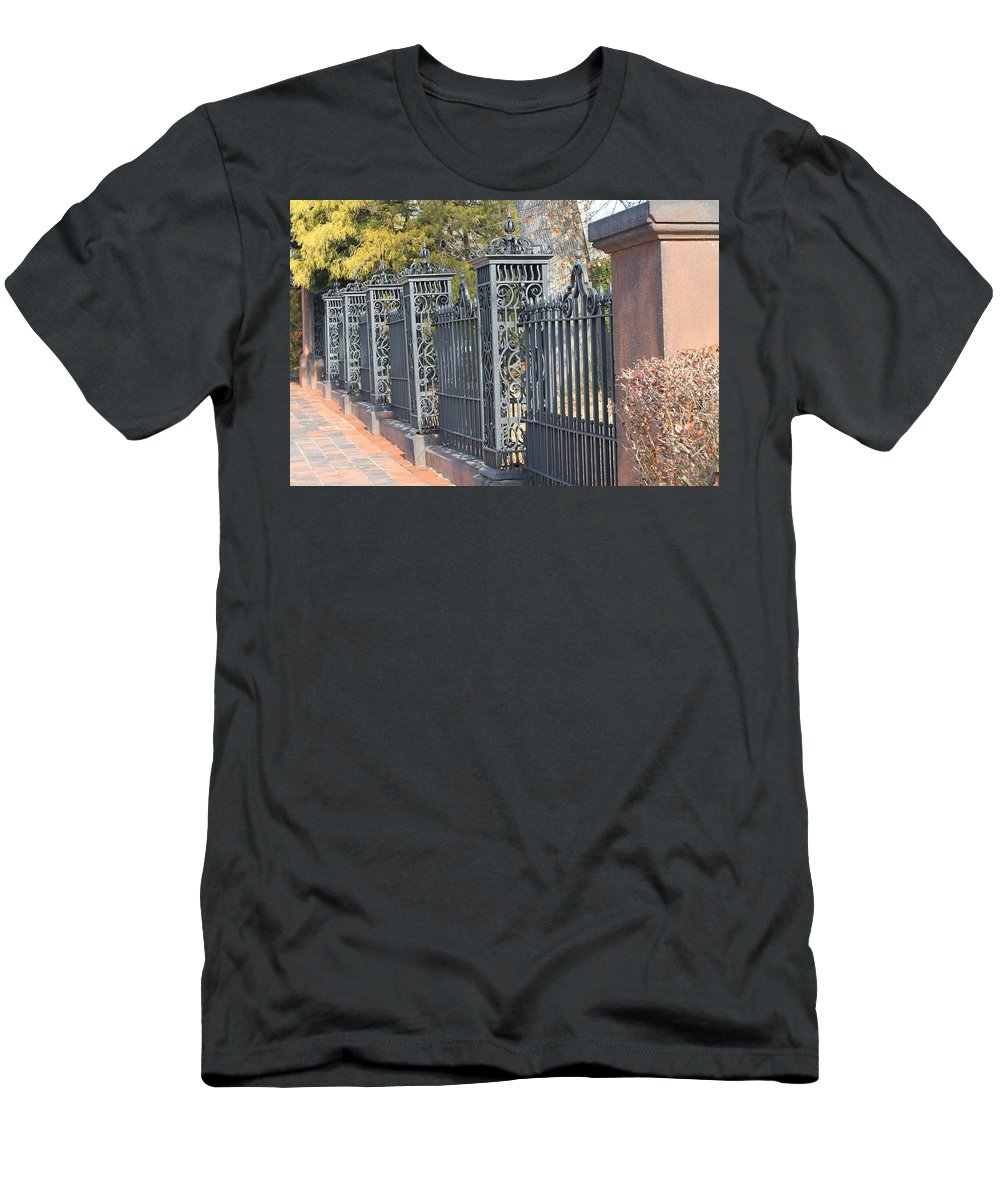 Building Men's T-Shirt (Athletic Fit) featuring the photograph Iron Fence by James Haney