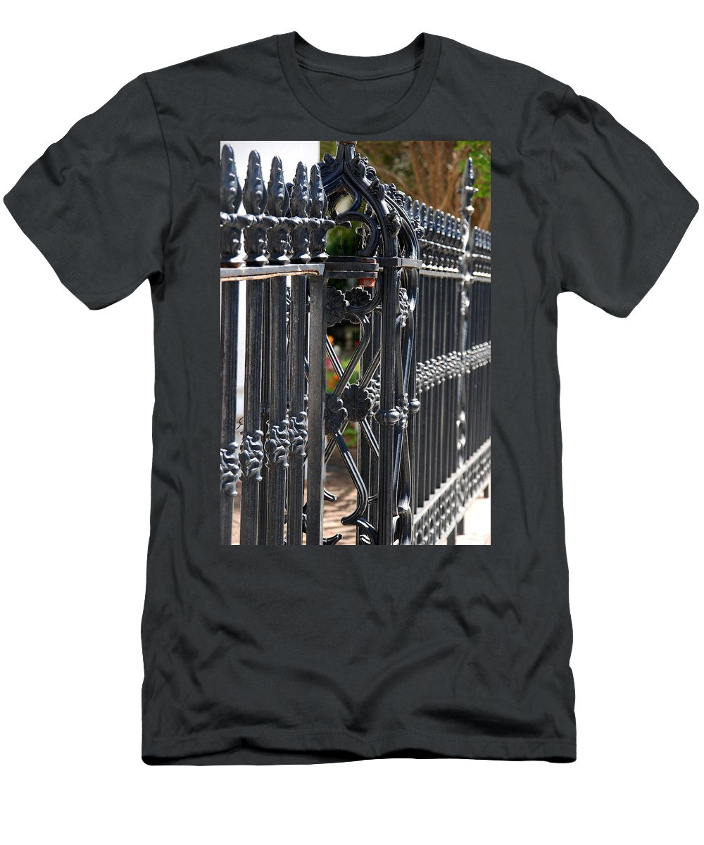 Iron Fence Men's T-Shirt (Athletic Fit) featuring the photograph Iron Fence by Susanne Van Hulst