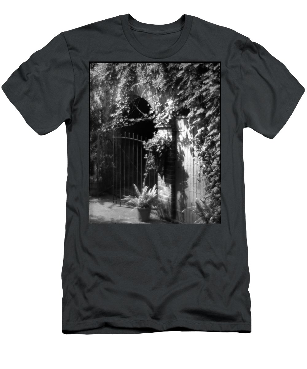Vines Men's T-Shirt (Athletic Fit) featuring the photograph Iron Gate And Wooden Door by Crescent City Collective