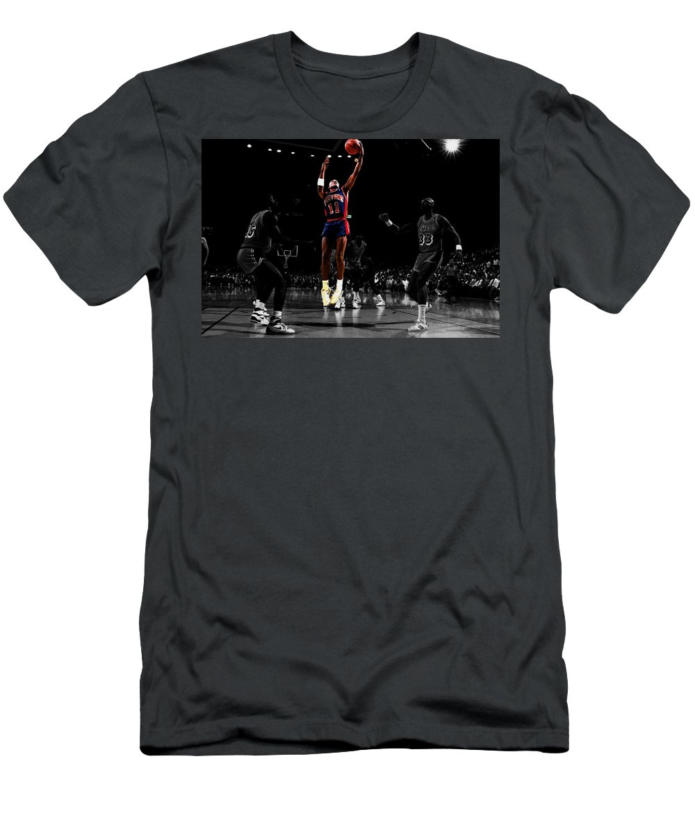 Isiah Thomas Men's T-Shirt (Athletic Fit) featuring the mixed media Isiah Thomas Finger Roll by Brian Reaves