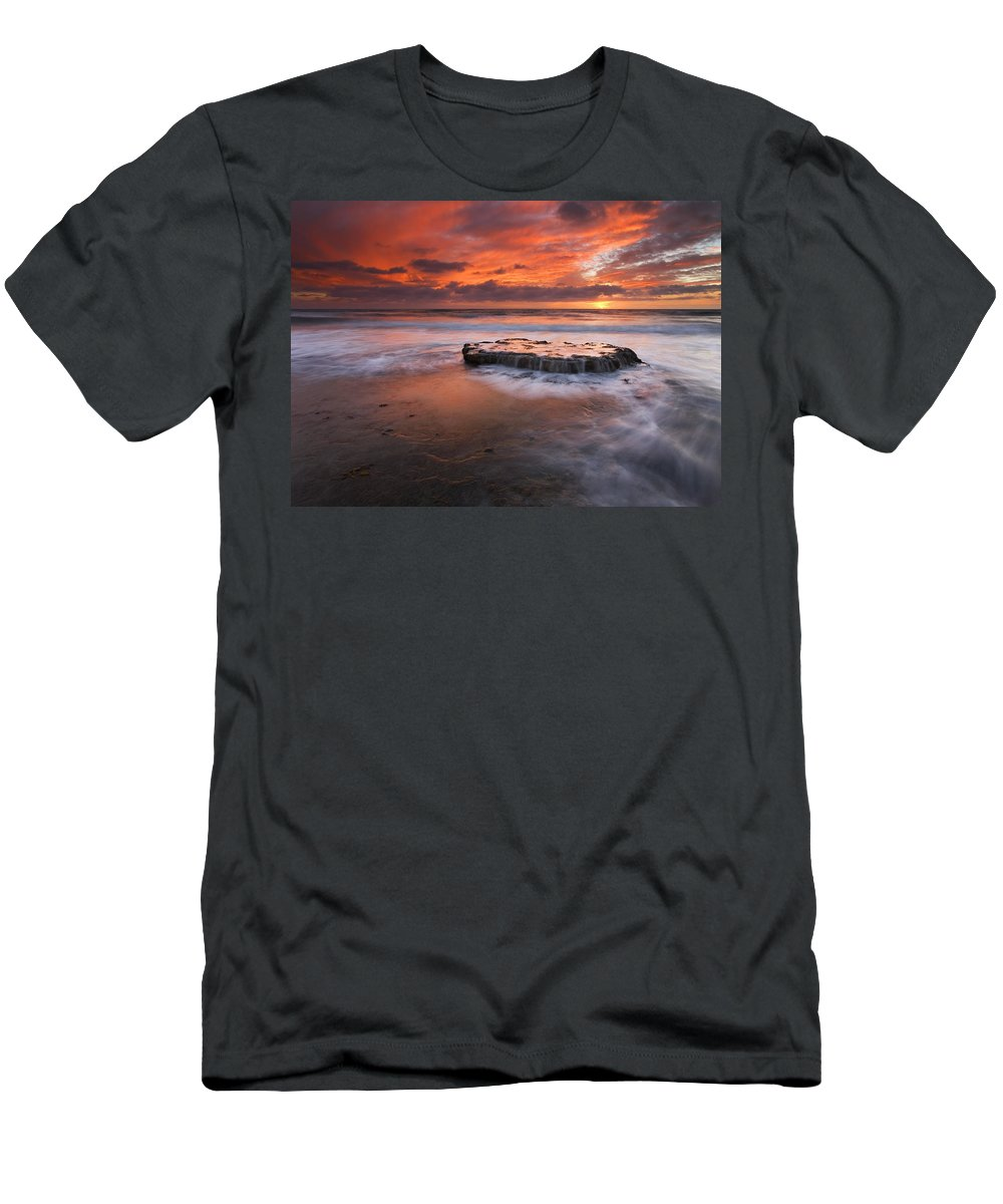Island Men's T-Shirt (Athletic Fit) featuring the photograph Island In The Storm by Mike Dawson