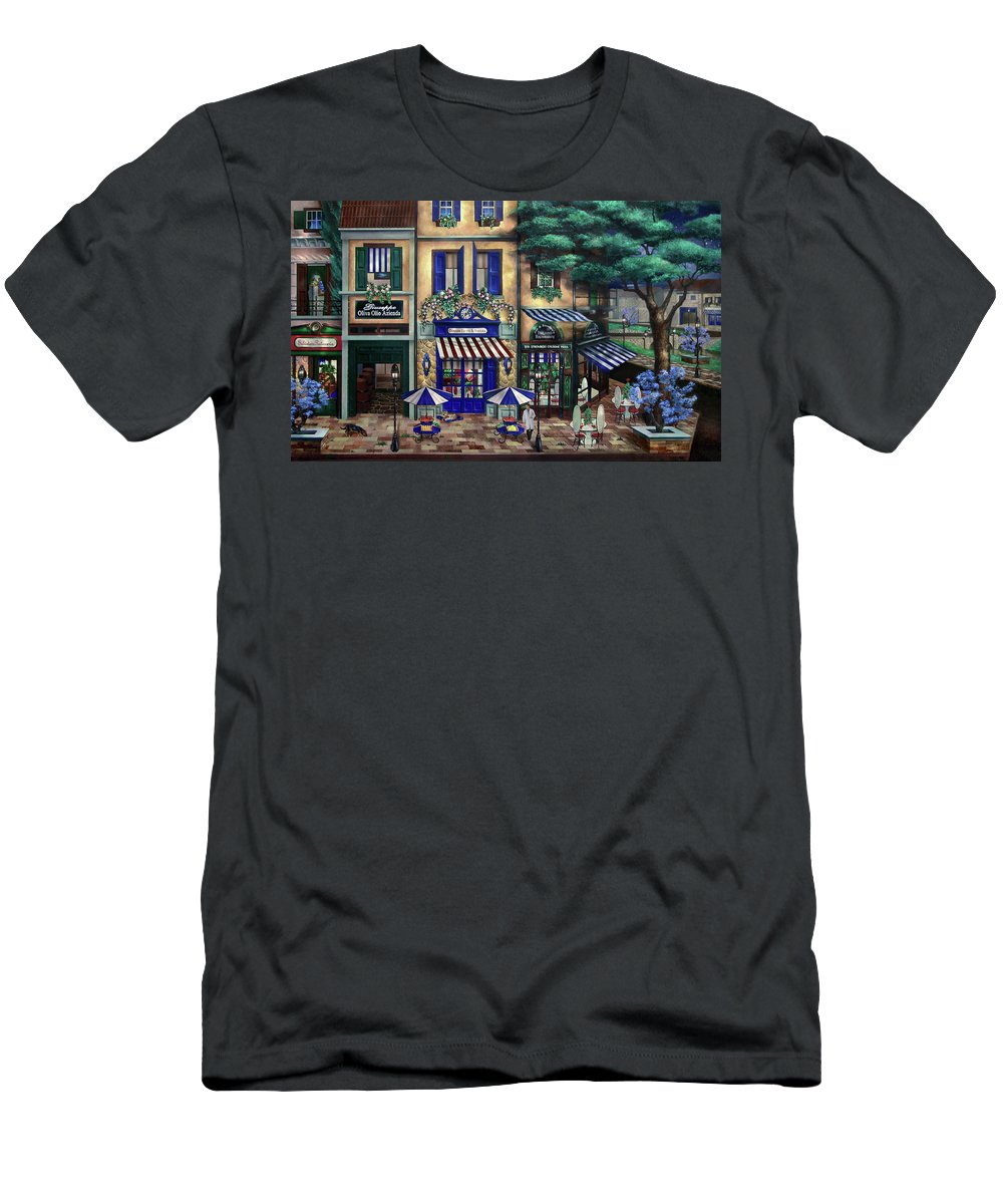 Italian Men's T-Shirt (Athletic Fit) featuring the mixed media Italian Cafe by Curtiss Shaffer