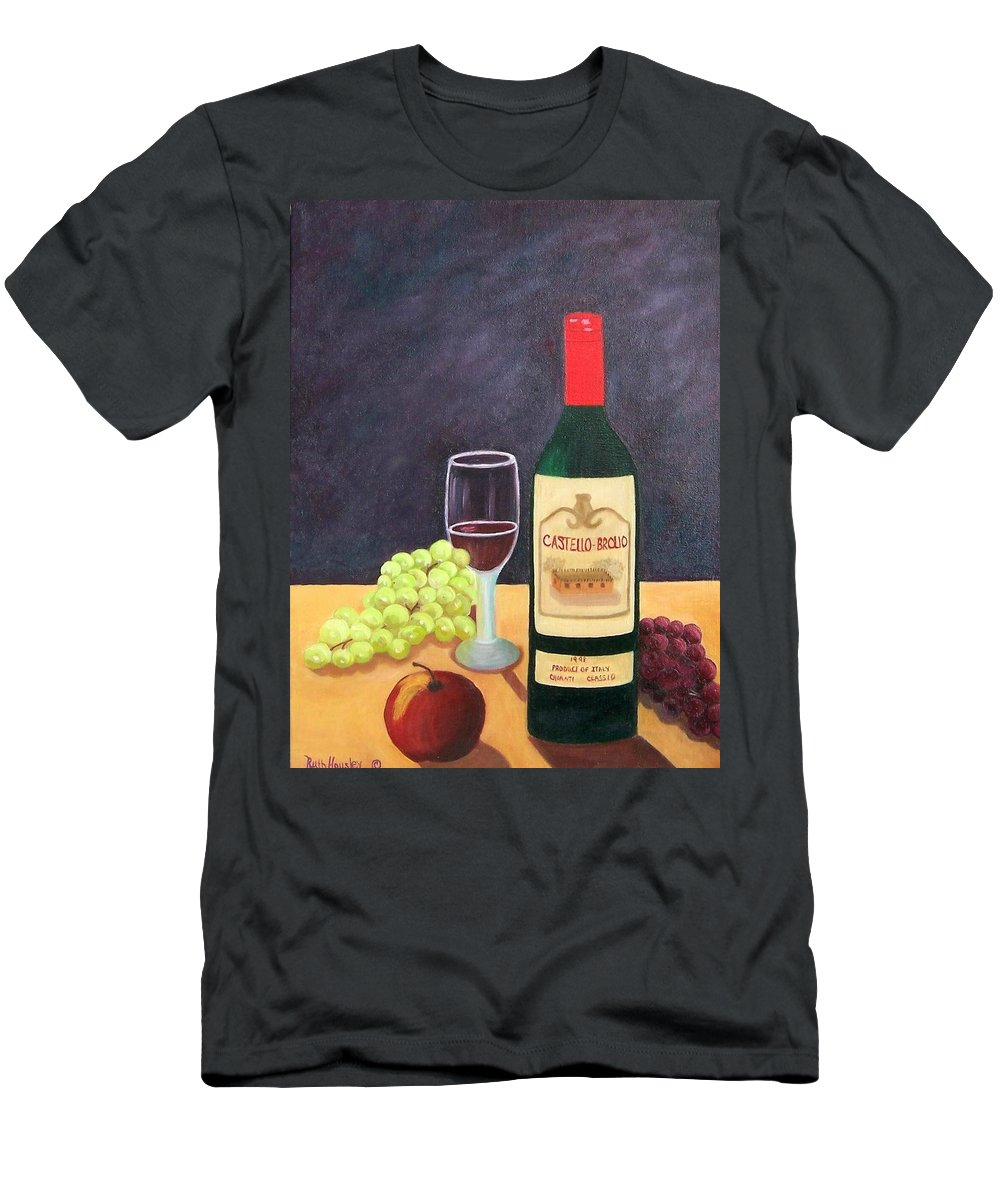 Still Life Men's T-Shirt (Athletic Fit) featuring the painting Italian Wine And Fruit by Ruth Housley