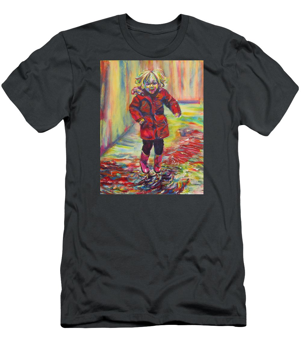 Child Men's T-Shirt (Athletic Fit) featuring the painting It's Raining, It's Pouring by Karin McCombe Jones