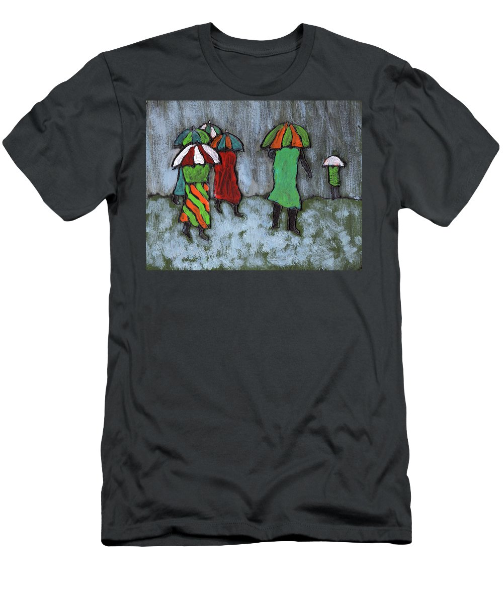 Etnic Men's T-Shirt (Athletic Fit) featuring the painting It's Raining It's Pouring by Wayne Potrafka