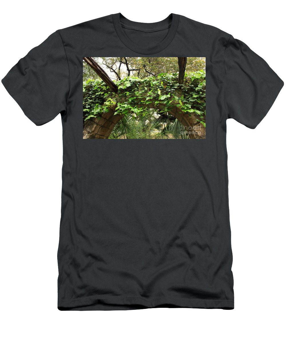 Ivy-covered Men's T-Shirt (Athletic Fit) featuring the photograph Ivy-covered Arch At The Alamo by Carol Groenen