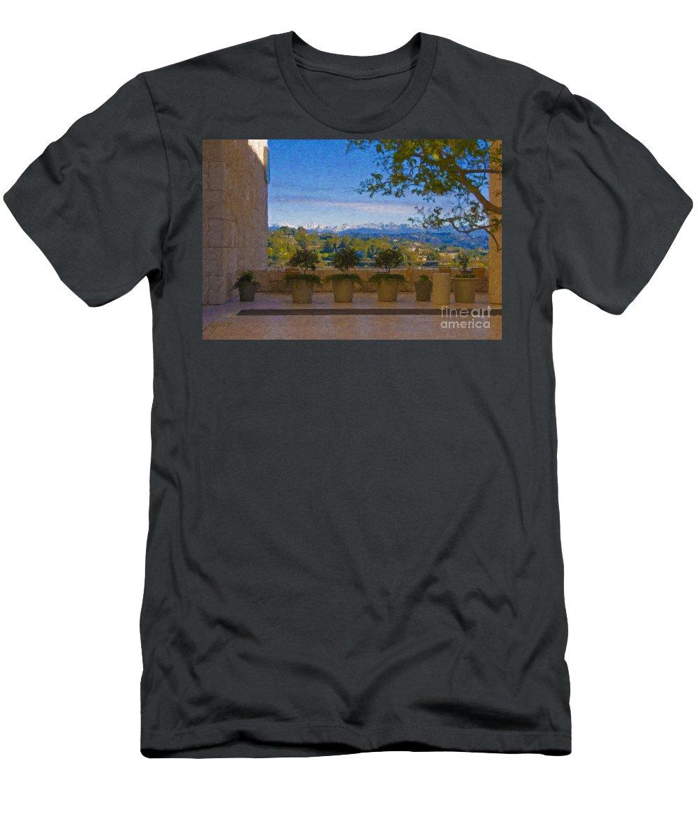 J Paul Getty Center Museum Terrace Men's T-Shirt (Athletic Fit) featuring the photograph J Paul Getty Center Museum Terrace by David Zanzinger