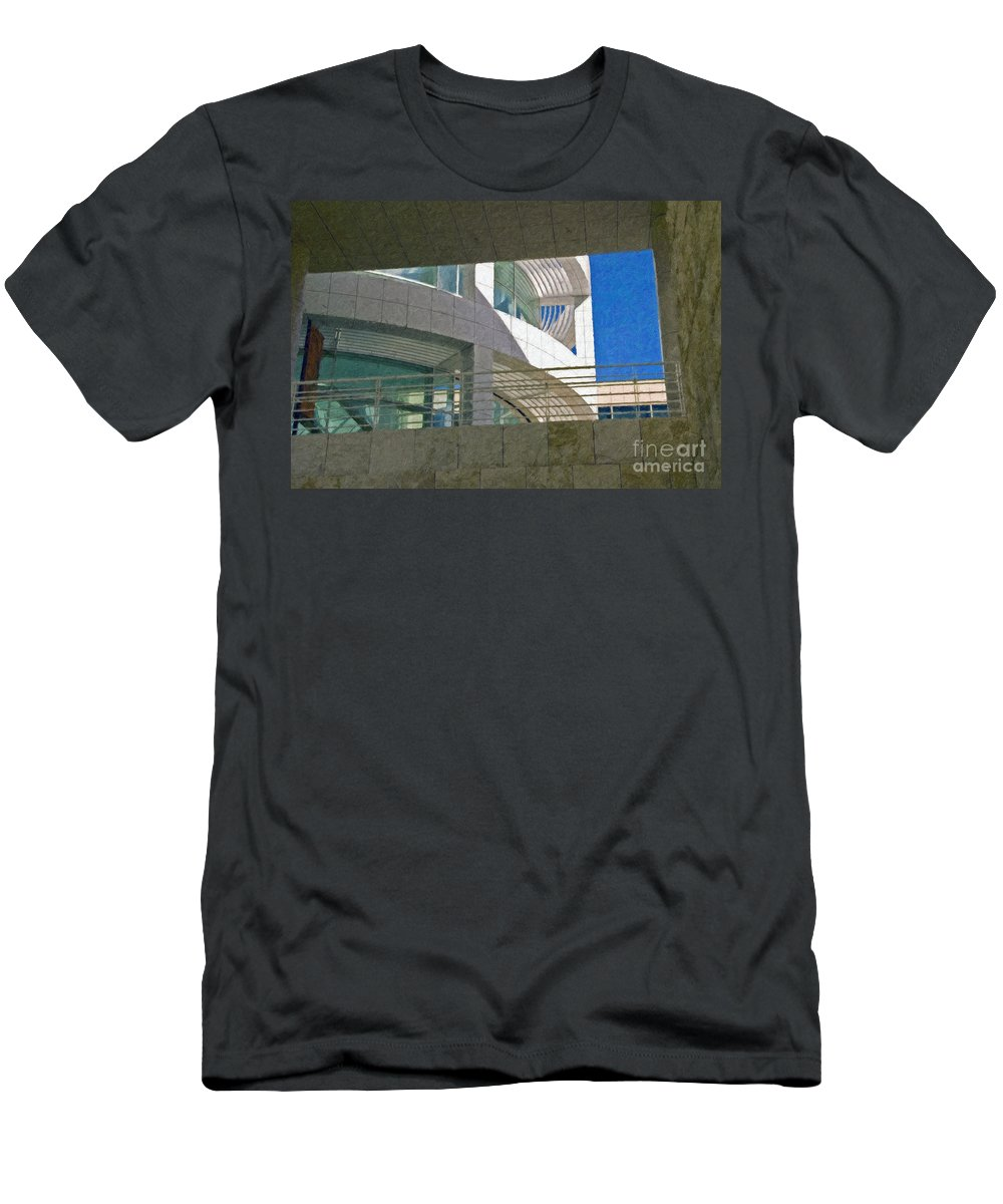 J. Paul Getty Museum Los Angeles Ca Administration Building Abstract View Men's T-Shirt (Athletic Fit) featuring the photograph J. Paul Getty Museum Abstract View by David Zanzinger