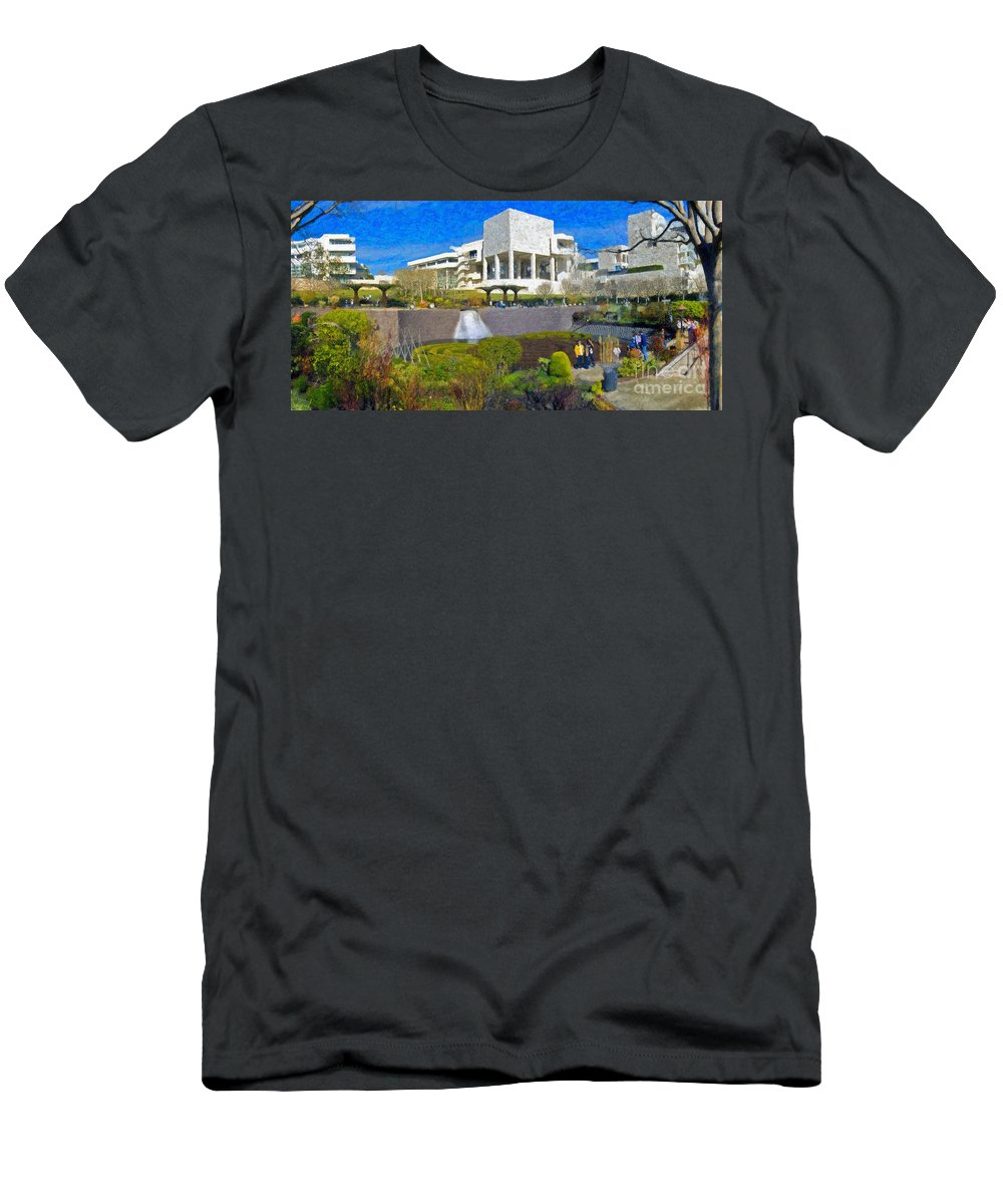 J Paul Getty Men's T-Shirt (Athletic Fit) featuring the photograph J. Paul Getty Museum Central Garden Panorama by David Zanzinger
