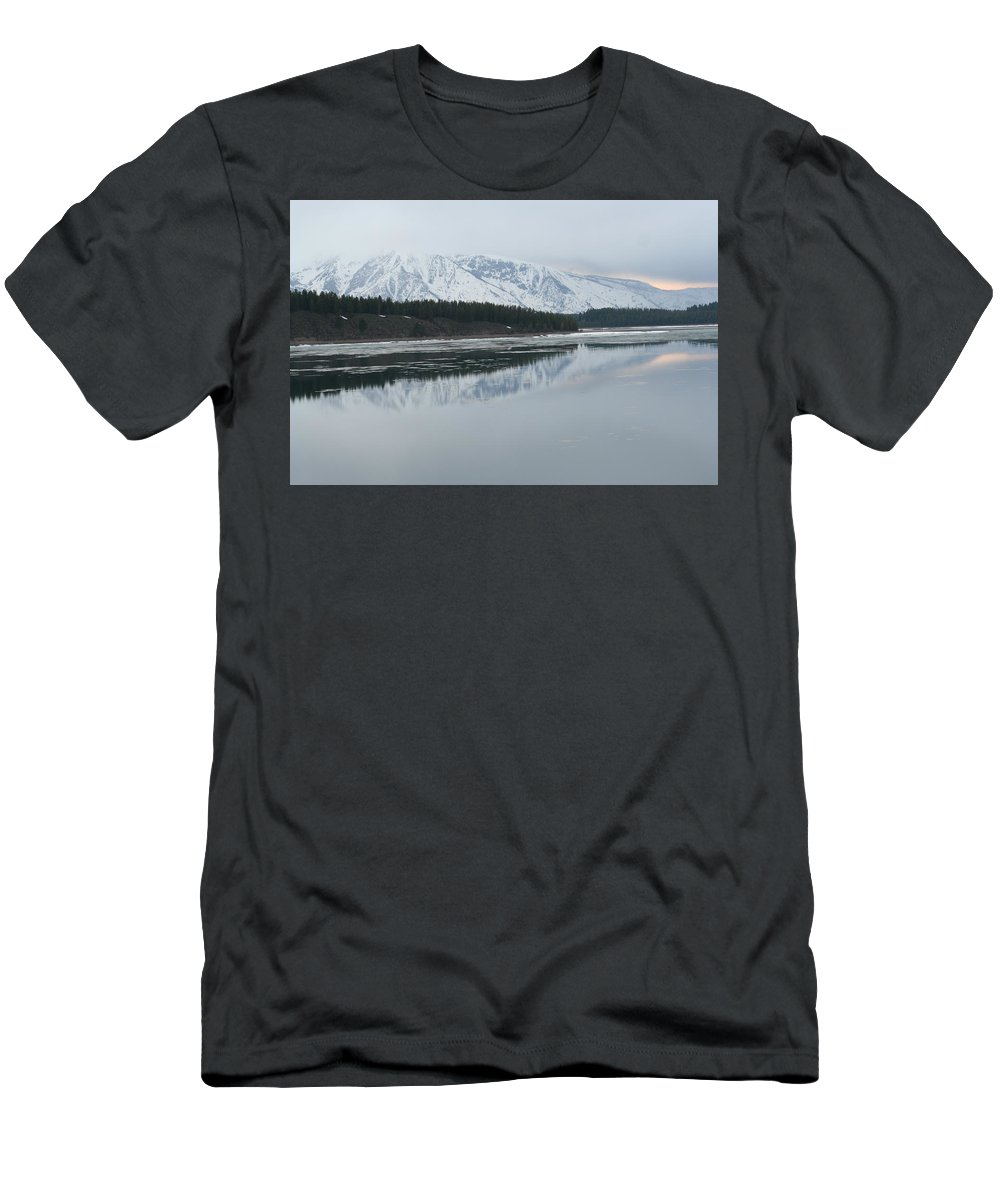 Lake Men's T-Shirt (Athletic Fit) featuring the photograph Jackson Lake Ice by Connie Jeffcoat