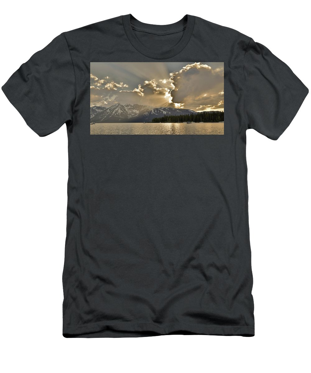 Jackson Lake Sunset View Men's T-Shirt (Athletic Fit) featuring the photograph Jackson Lake Sunset View by Dan Sproul