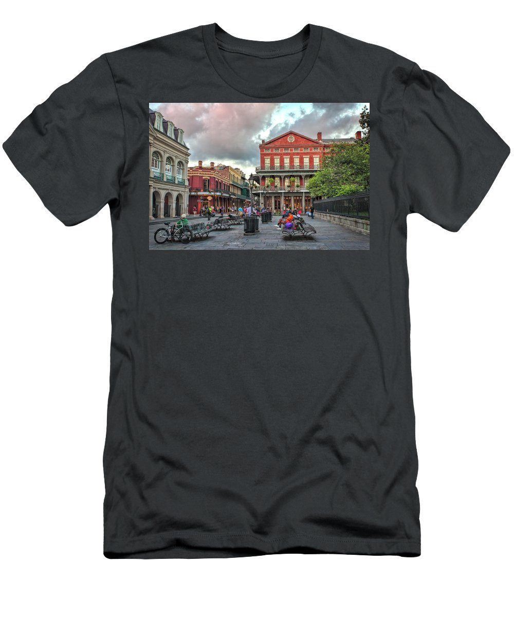 Jackson Square Men's T-Shirt (Athletic Fit) featuring the photograph Jackson Square Evening by Diana Powell