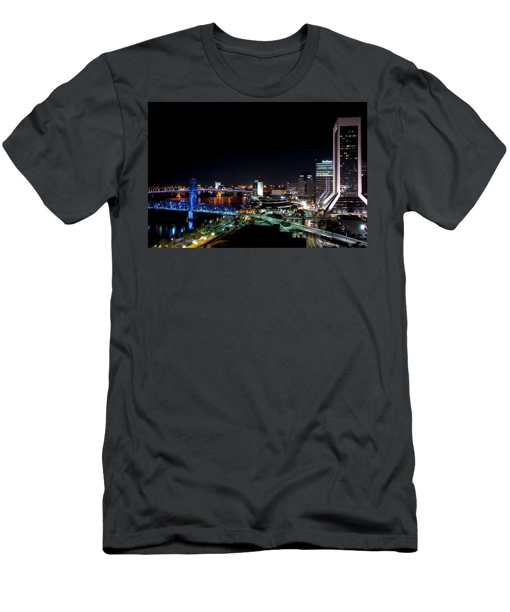 Jacksonville Men's T-Shirt (Athletic Fit) featuring the painting Jacksonville Fl At Night by Bill McClurg