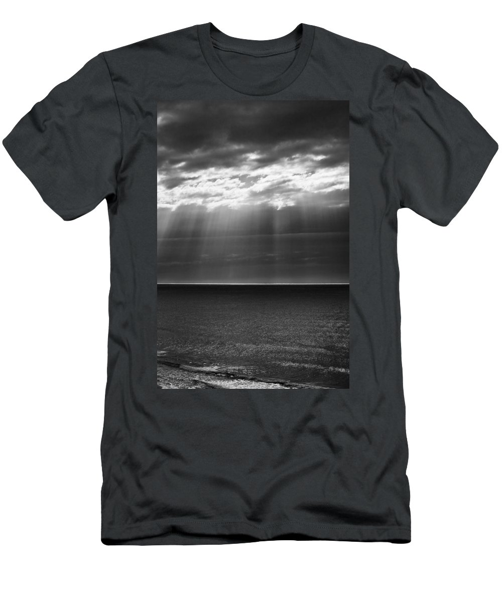 Dawn Storm Monochrome Black And White T-Shirt featuring the photograph Jacobs ladder at dawn by Sheila Smart Fine Art Photography