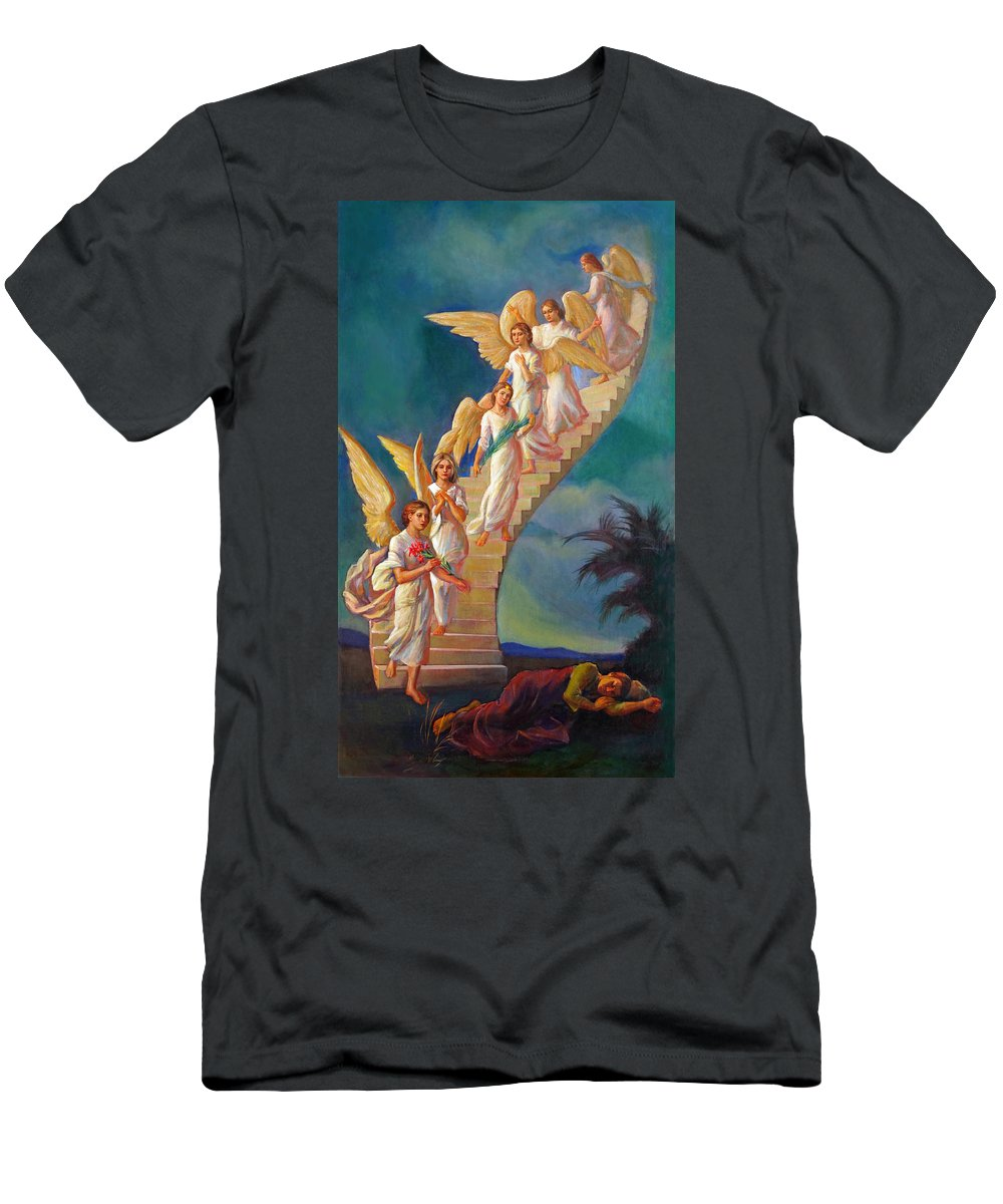 Jacob Men's T-Shirt (Athletic Fit) featuring the painting Jacob's Ladder - Jacob's Dream by Svitozar Nenyuk