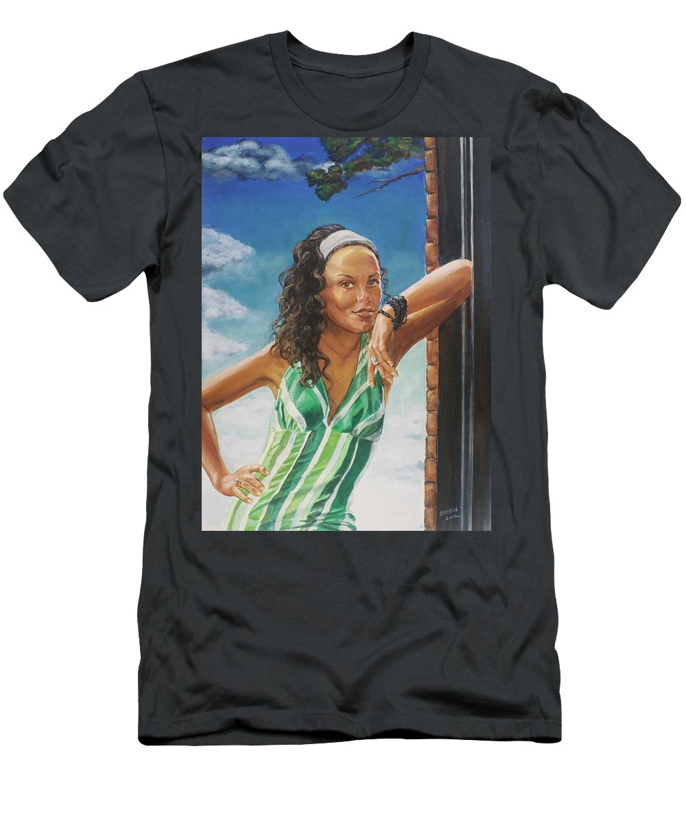 Jade Anderson Men's T-Shirt (Athletic Fit) featuring the painting Jade Anderson by Bryan Bustard