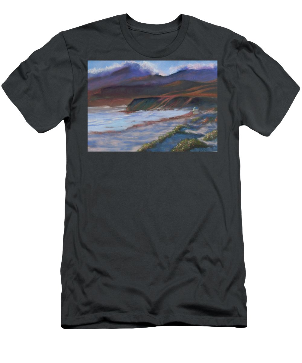 Jalama Beach. Men's T-Shirt (Athletic Fit) featuring the pastel Jalama Beach At Sunset by Laurie Paci