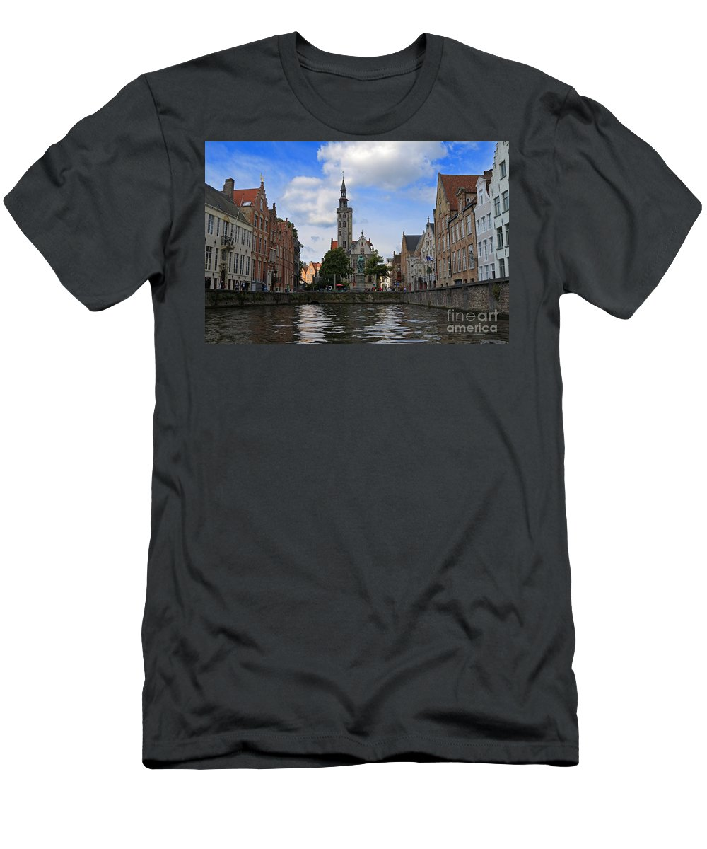 Poortersloge Men's T-Shirt (Athletic Fit) featuring the photograph Jan Van Eyck Square With The Poortersloge From The Canal In Bruges by Louise Heusinkveld