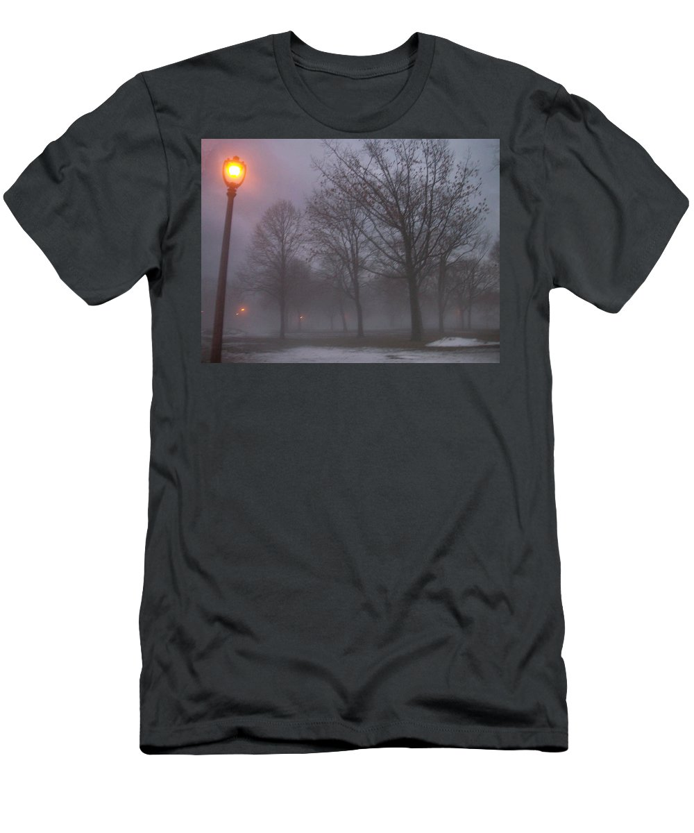 January Men's T-Shirt (Athletic Fit) featuring the photograph January Fog 3 by Anita Burgermeister