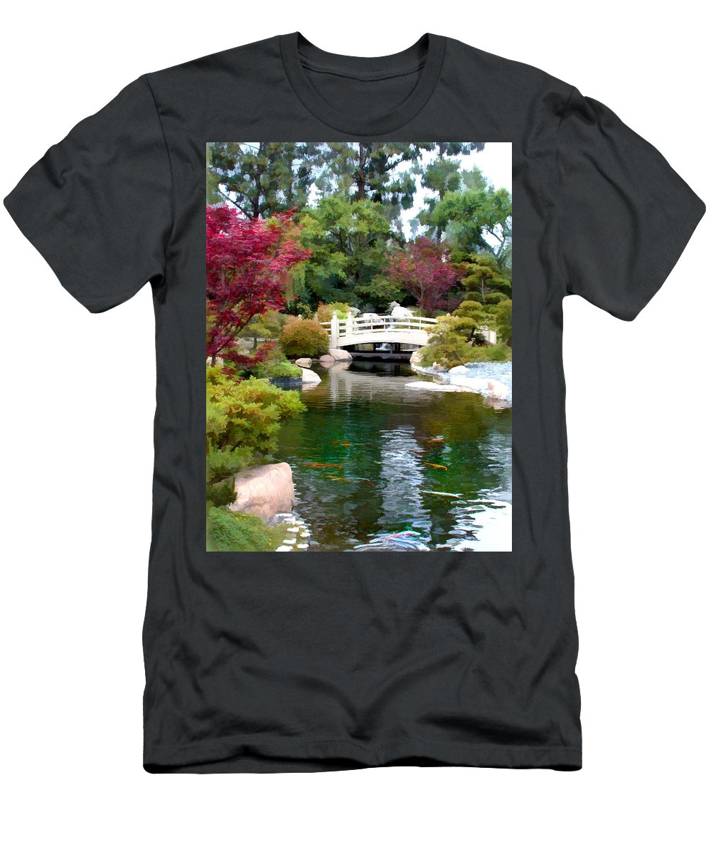 Nature Men's T-Shirt (Athletic Fit) featuring the painting Japanese Garden Bridge And Koi Pond by Elaine Plesser