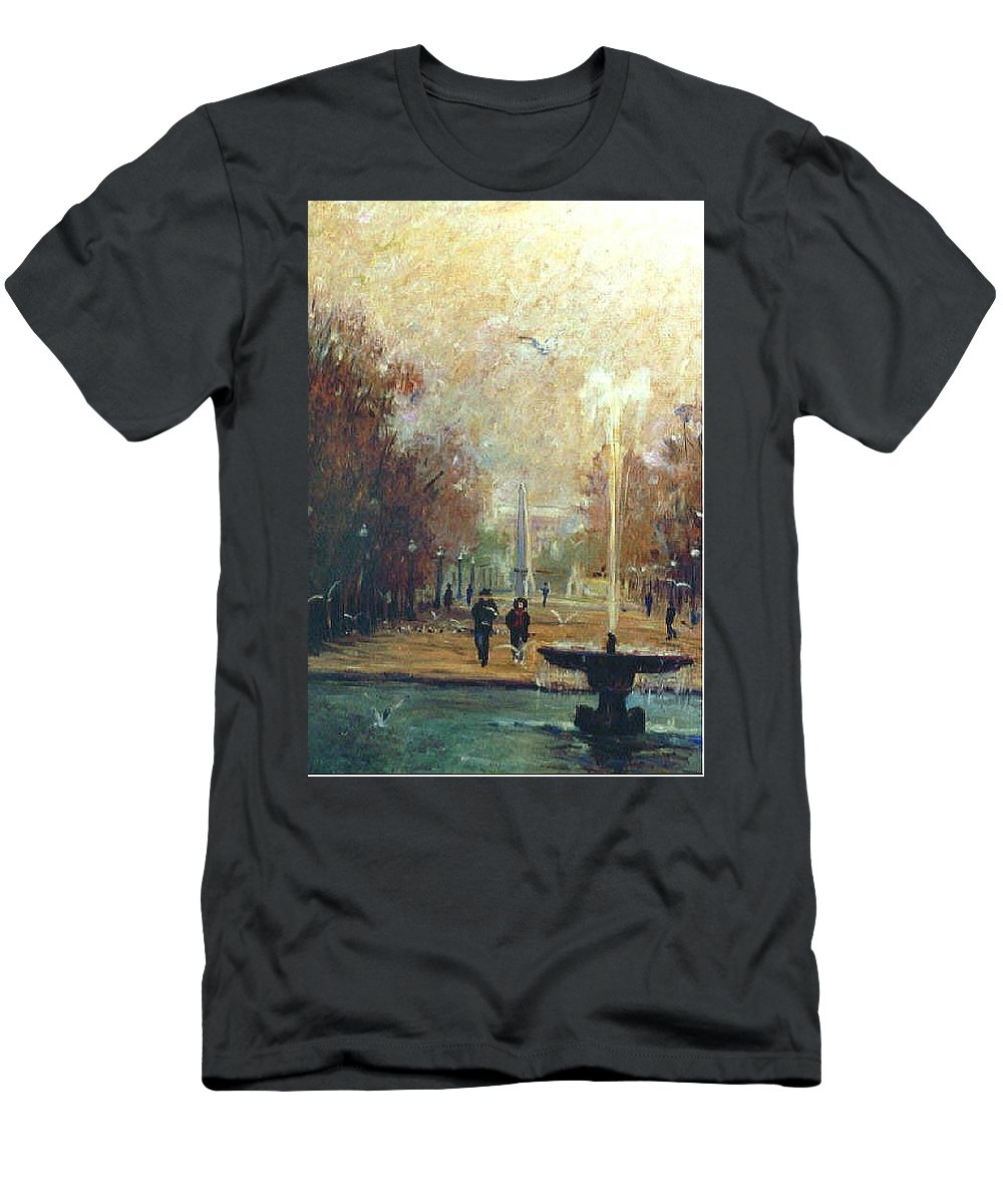 Garden Men's T-Shirt (Athletic Fit) featuring the painting Jardin Des Tuileries by Walter Casaravilla
