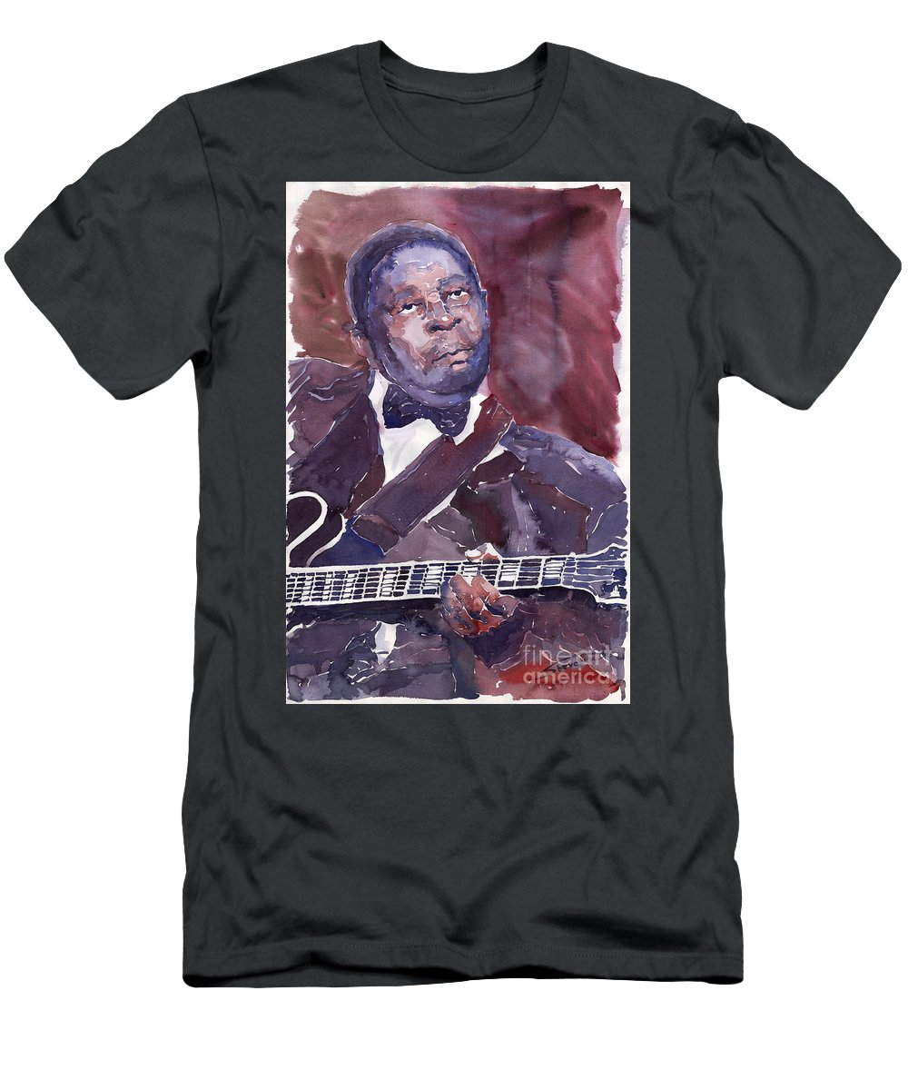 Jazz Bbking Guitarist Blues Portret Figurative Music Men's T-Shirt (Athletic Fit) featuring the painting Jazz B B King by Yuriy Shevchuk