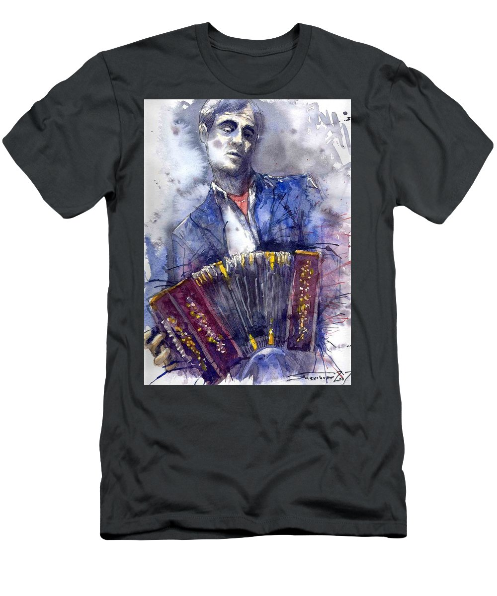 Jazz Men's T-Shirt (Athletic Fit) featuring the painting Jazz Concertina Player by Yuriy Shevchuk