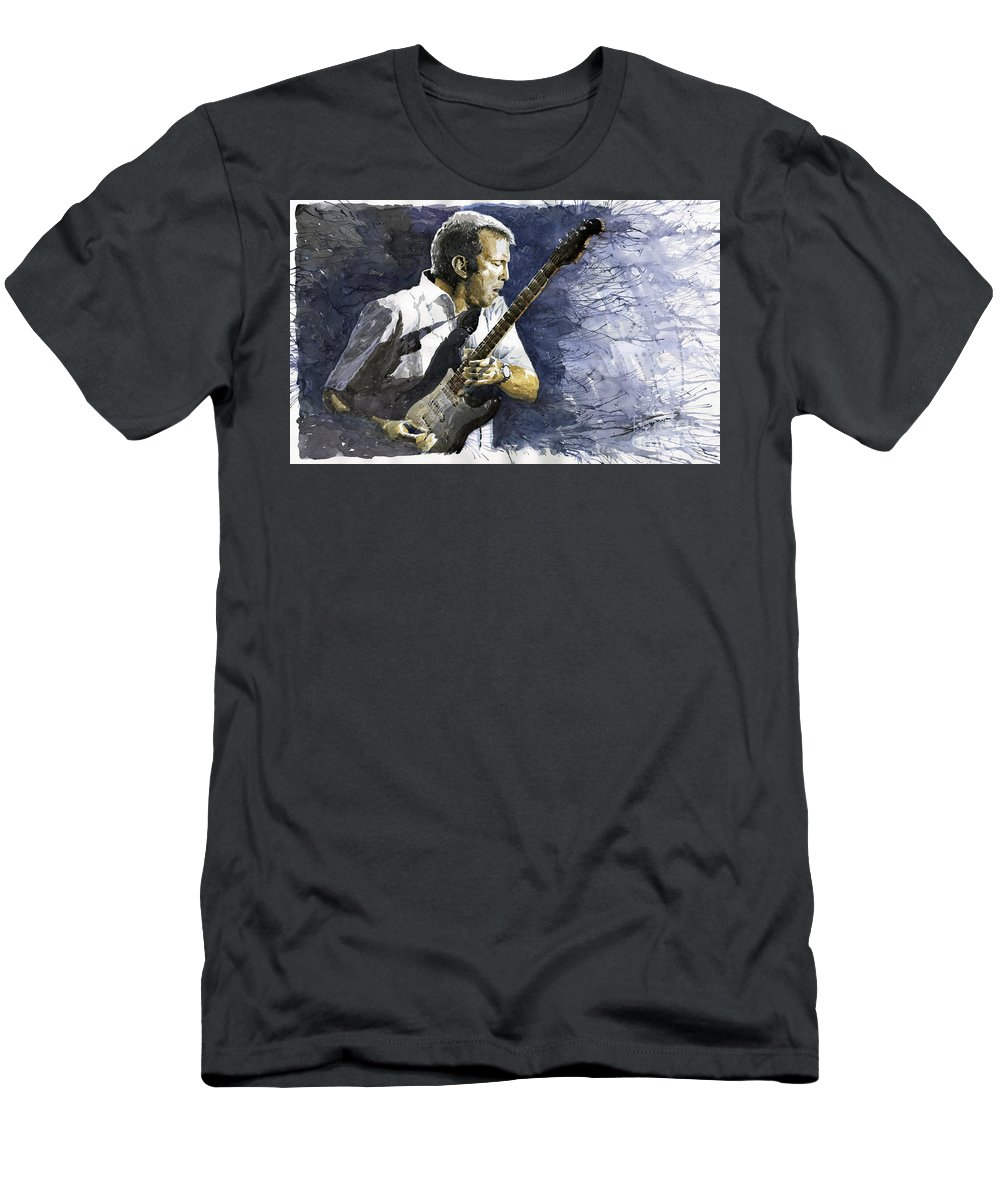 Eric Clapton Men's T-Shirt (Athletic Fit) featuring the painting Jazz Eric Clapton 1 by Yuriy Shevchuk
