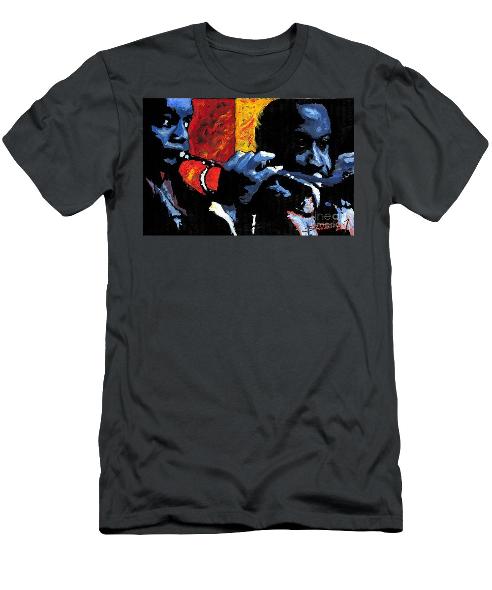 Jazz T-Shirt featuring the painting Jazz Trumpeters by Yuriy Shevchuk