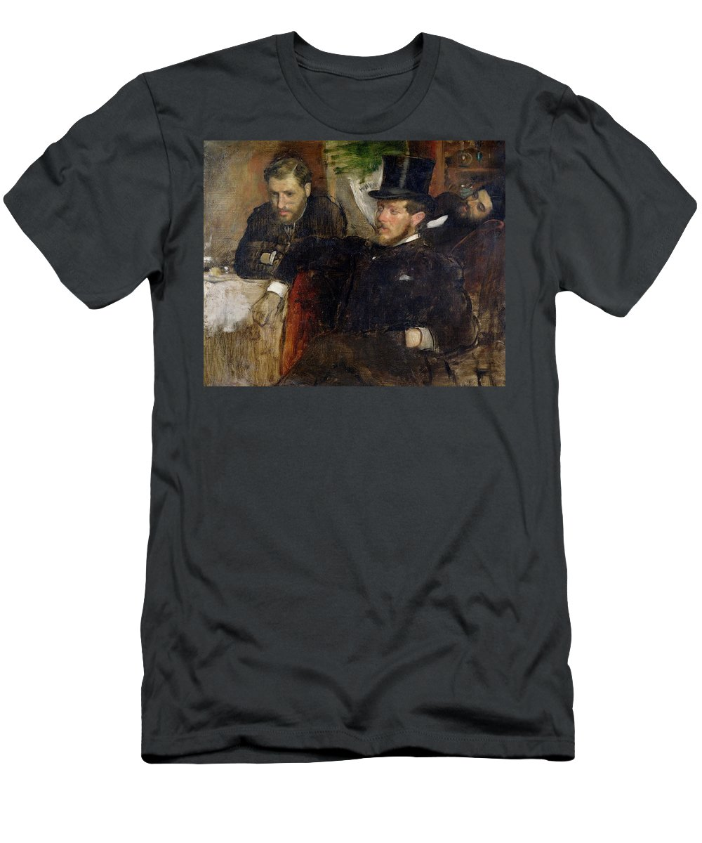 Edgar Degas Men's T-Shirt (Athletic Fit) featuring the painting Jeantaud Linet And Laine by Edgar Degas