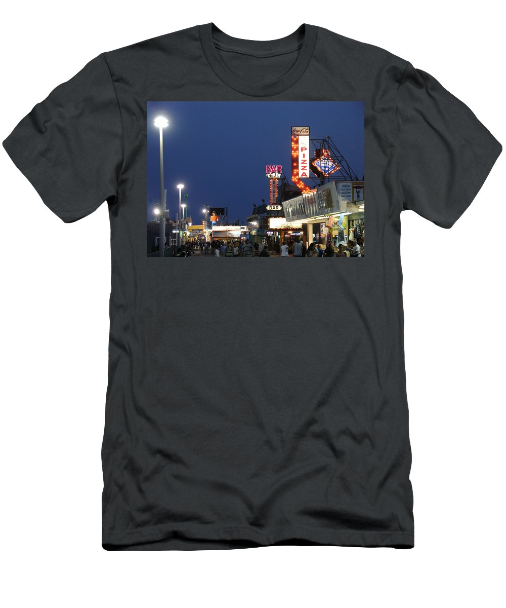 Landscape Men's T-Shirt (Athletic Fit) featuring the photograph Jersey Shore Board Walk by Steve Karol