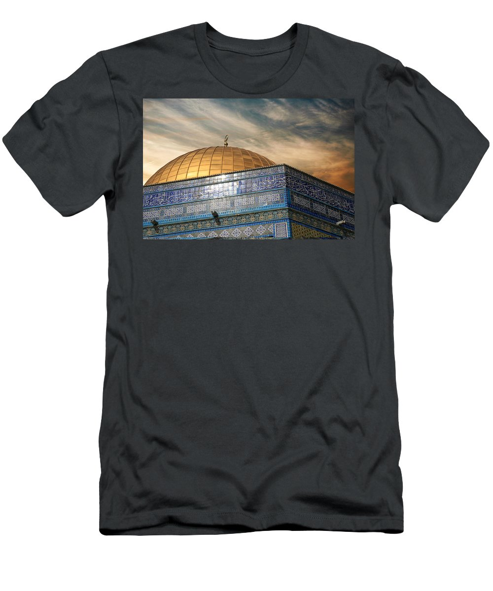 Dome Men's T-Shirt (Athletic Fit) featuring the photograph Jerusalem - Dome Of The Rock Sky by Munir Alawi