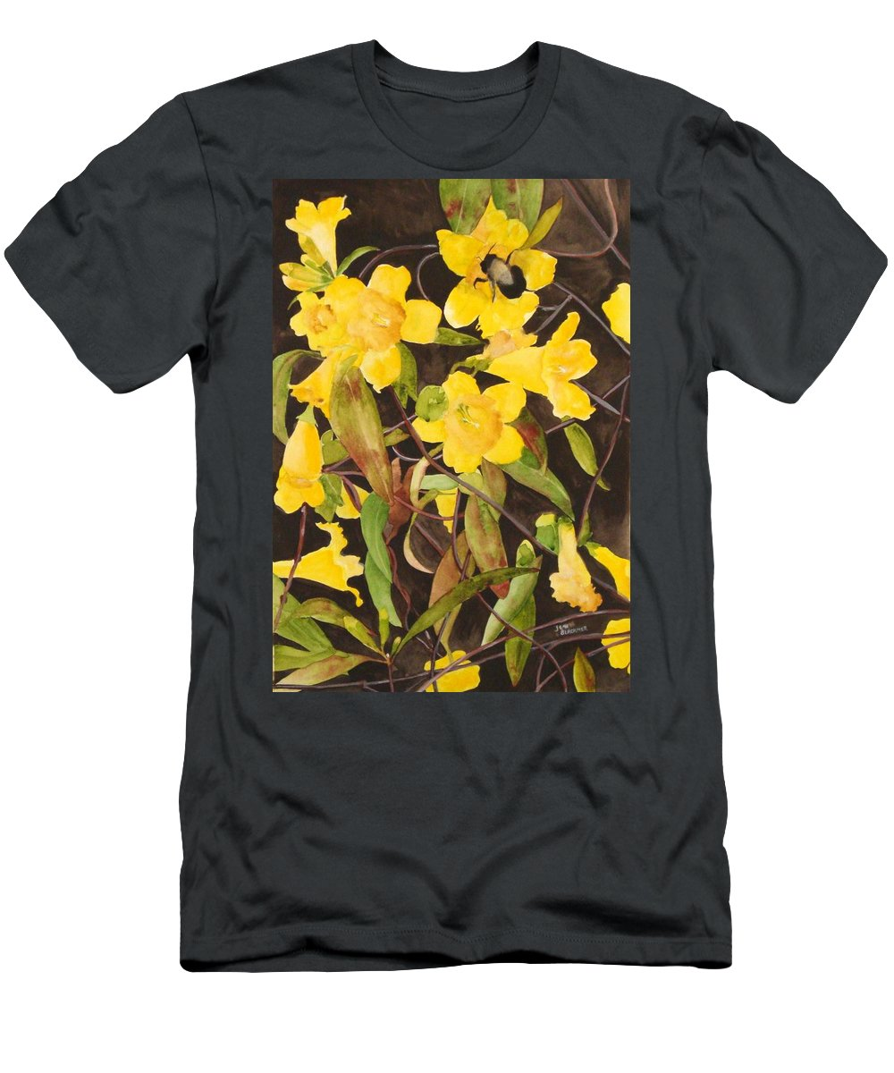 Flowers Men's T-Shirt (Athletic Fit) featuring the painting Jessamine Jungle by Jean Blackmer
