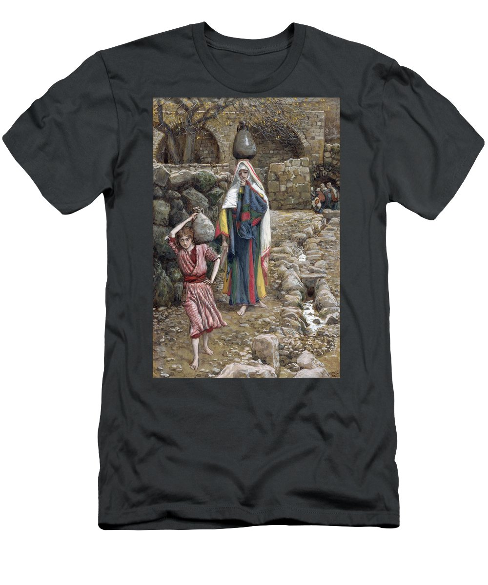 Men's T-Shirt (Athletic Fit) featuring the painting Jesus And His Mother At The Fountain by Tissot