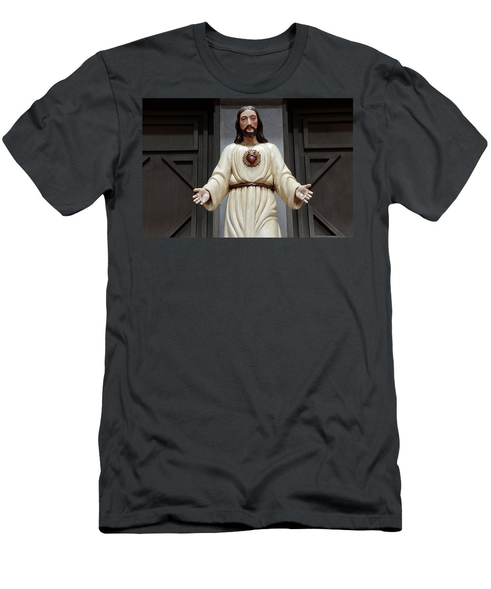 Architecture Men's T-Shirt (Athletic Fit) featuring the photograph Jesus Figure by Bob Christopher