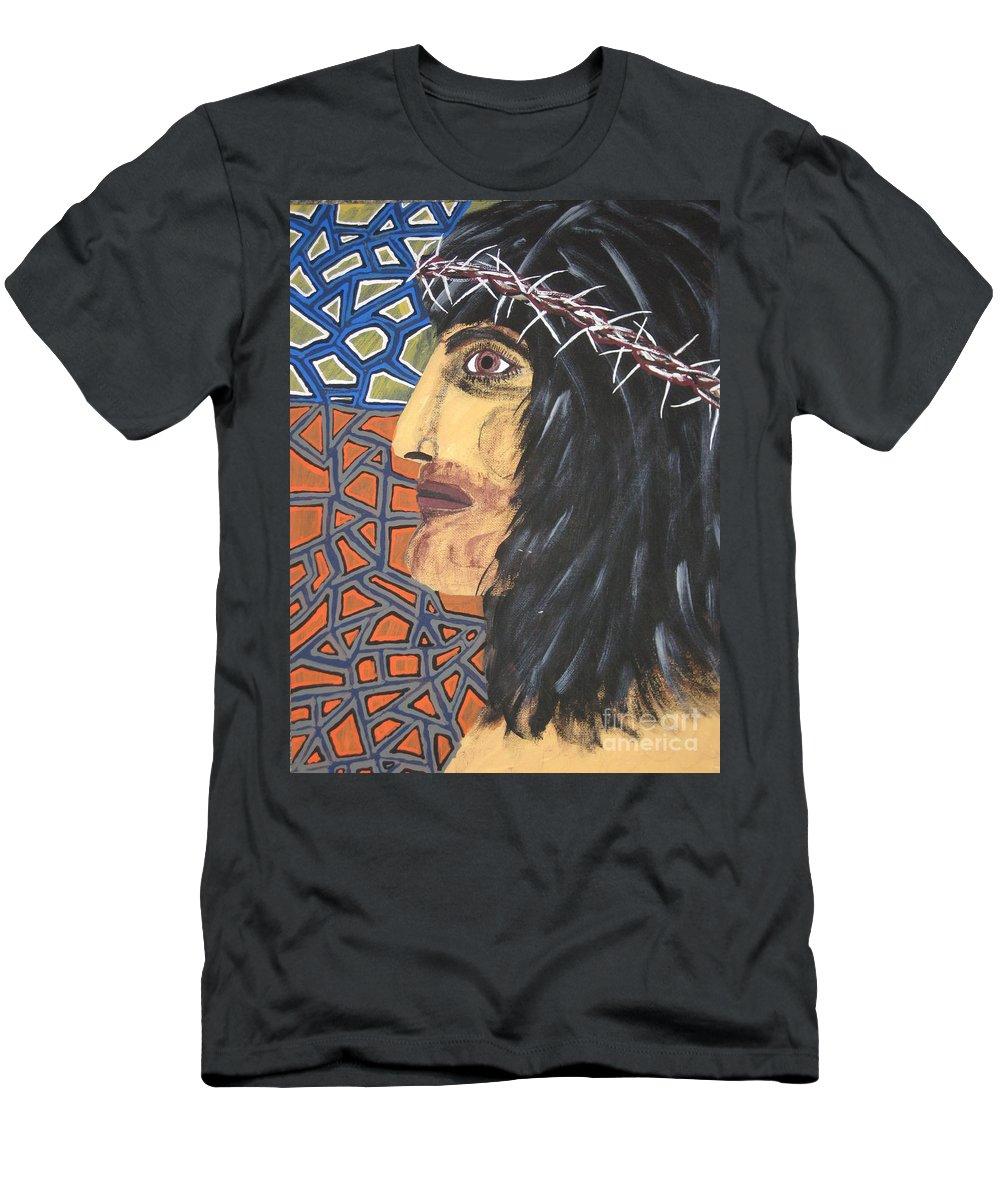 Portrait Men's T-Shirt (Athletic Fit) featuring the painting Jesus by Jeffrey Koss