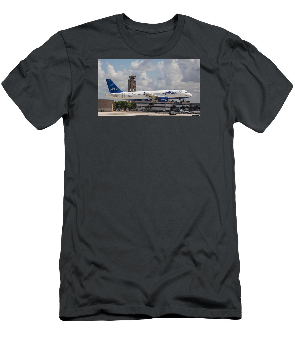 Airline Men's T-Shirt (Athletic Fit) featuring the photograph Jetblue Fll by Dart and Suze Humeston