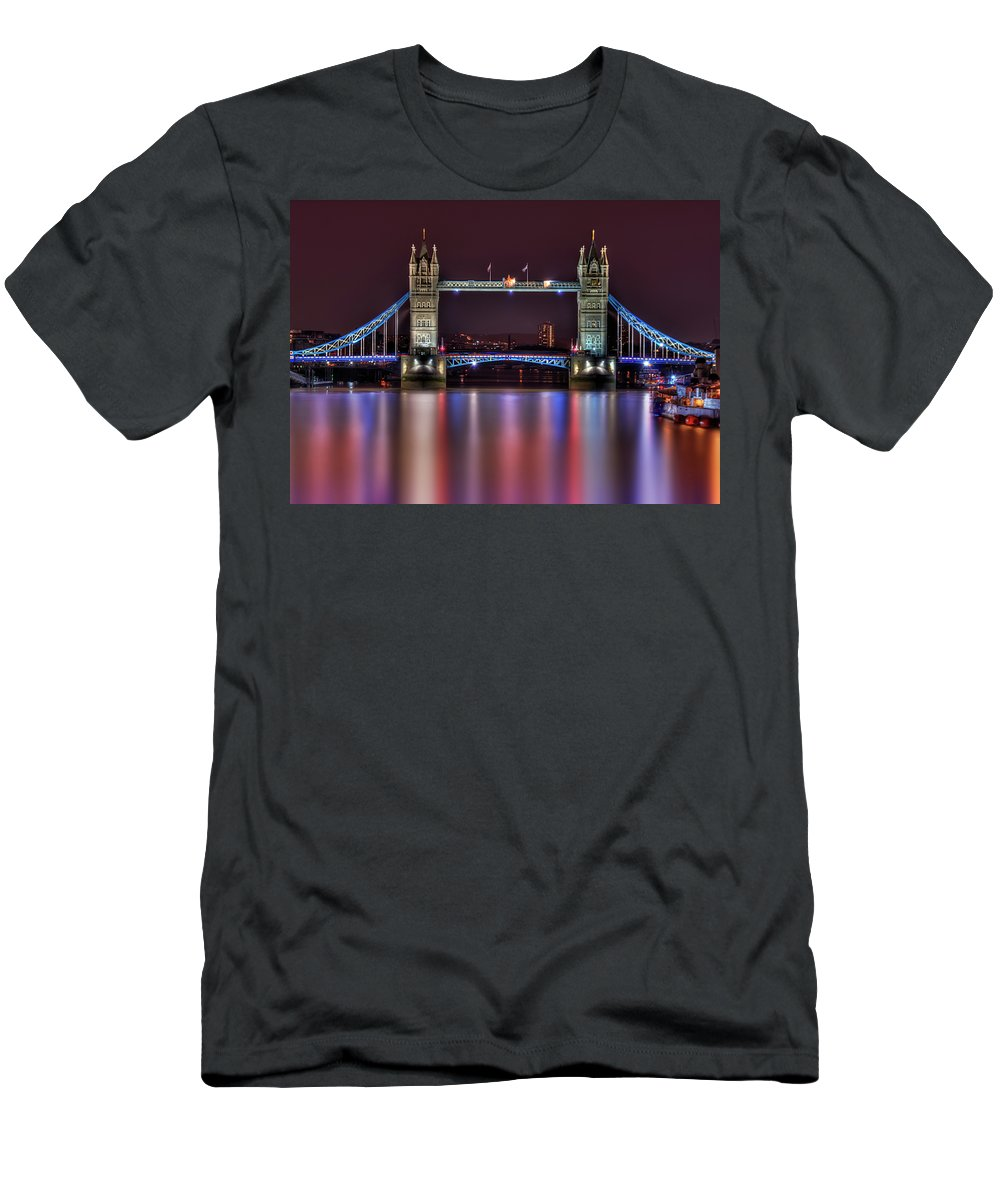 Tower Bridge Men's T-Shirt (Athletic Fit) featuring the photograph Jewel Of The Night by Evelina Kremsdorf