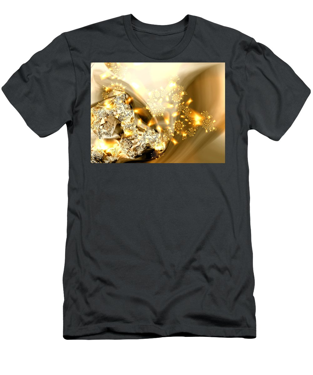 Gold And Silver Men's T-Shirt (Athletic Fit) featuring the digital art Jewels And Satin by Claire Bull