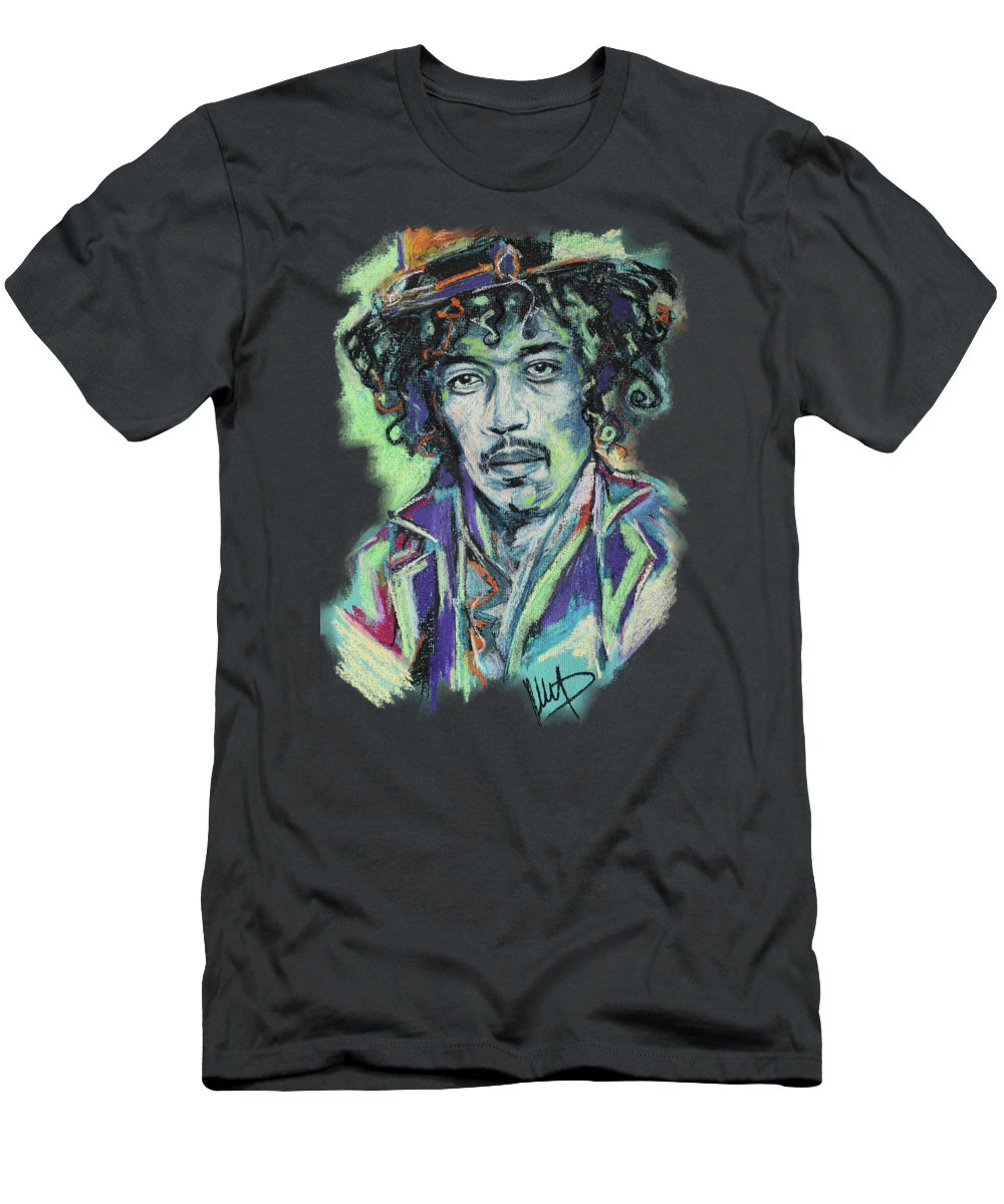 Jimi Hendrix Men's T-Shirt (Athletic Fit) featuring the pastel Jimi Hendrix 1 by Melanie D