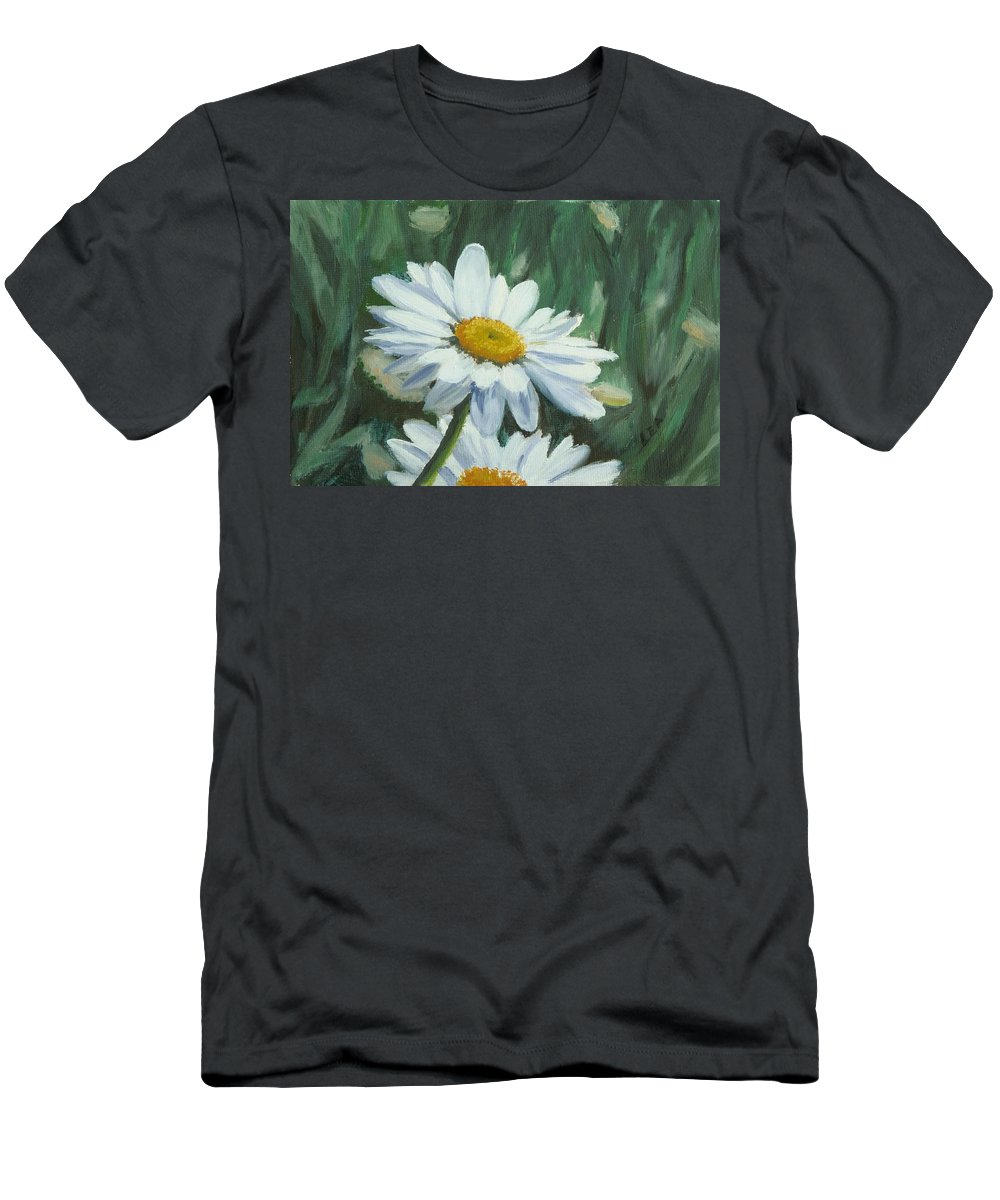 Daisy Men's T-Shirt (Athletic Fit) featuring the painting Joe's Daisies by Lea Novak