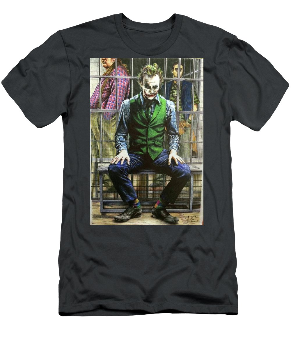Joker Men's T-Shirt (Athletic Fit) featuring the drawing Joker by Carola Moreno