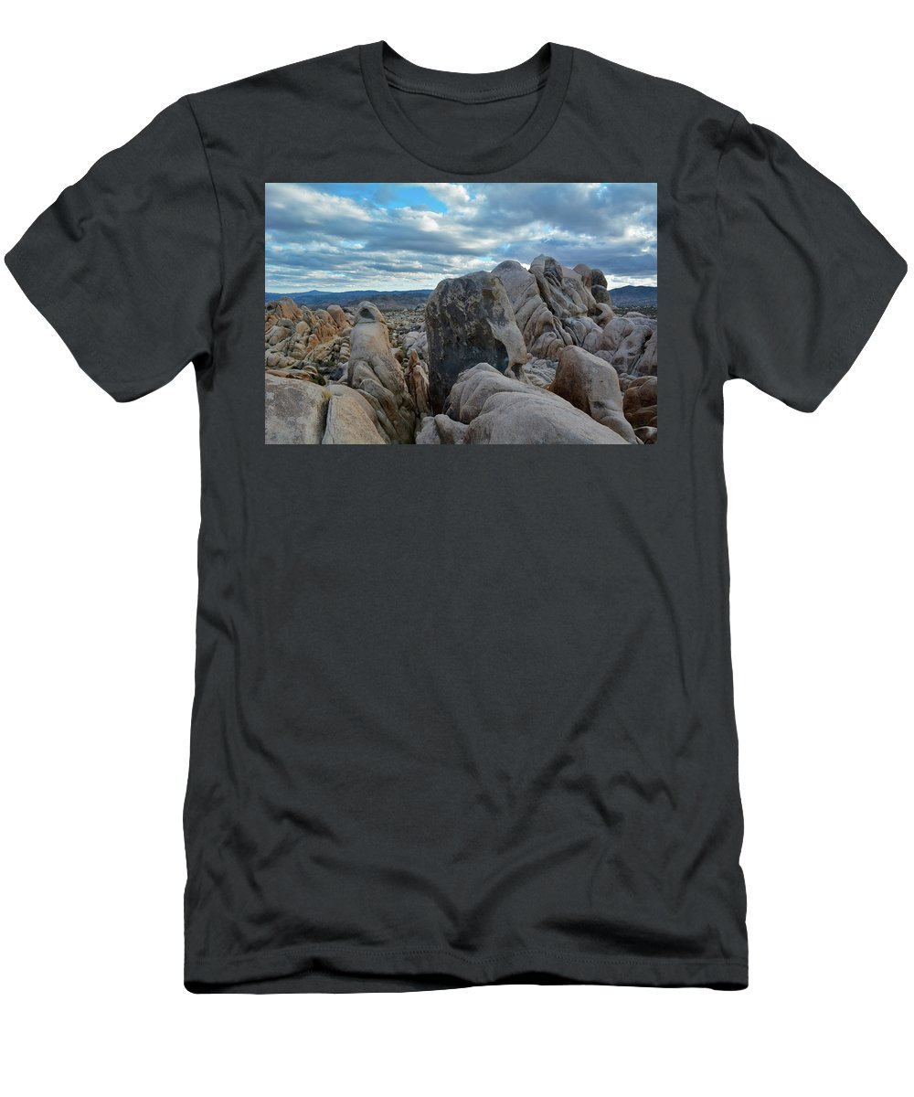Joshua Tree Men's T-Shirt (Athletic Fit) featuring the photograph Joshua Tree Boulder Sky by Kyle Hanson