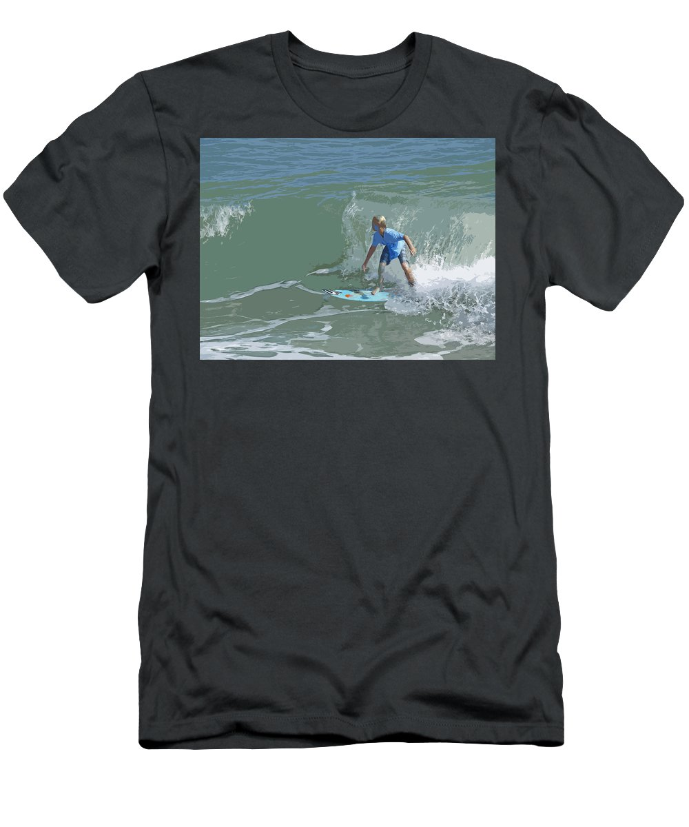 Surf Men's T-Shirt (Athletic Fit) featuring the painting Joy Of Surfing - Four by Allan Hughes