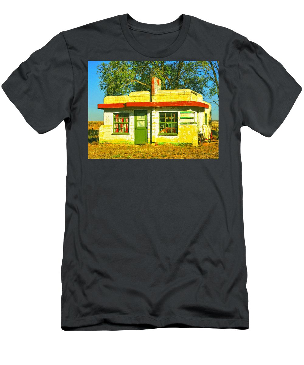 Old Motel Men's T-Shirt (Athletic Fit) featuring the painting Juarez Motel by Dominic Piperata